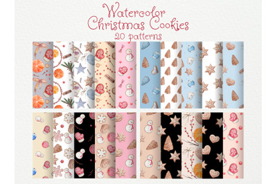 Set of 20 watercolor Christmas cookies patterns