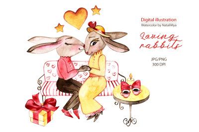 Loving rabbits. Watercolor clipart.
