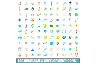 100 research and development icons set
