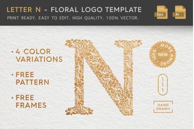 Letter N - Floral Logo Template