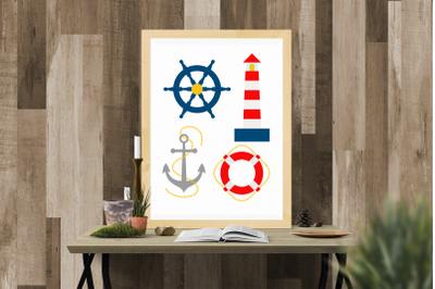 Nautical Lighthouse Life Preserver Ship Anchor Set | SVG | PNG | DXF