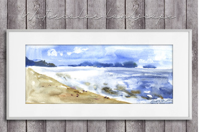 Watercolor cloudy seascape