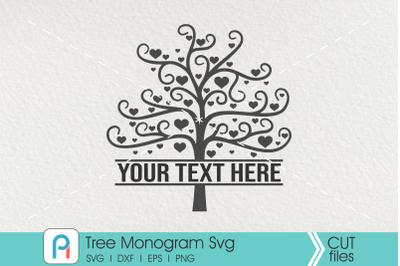 Tree Monogram Svg, Tree SVG, Tree Clipart