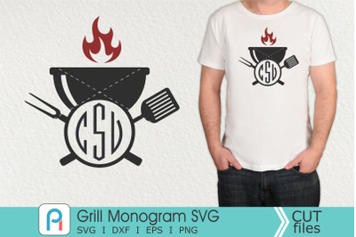Grill Monogram Svg, Grill Svg, Grill Clipart, Barbeque Grill