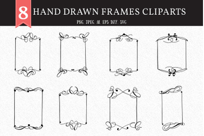 8 Hand Drawn Frames Cliparts