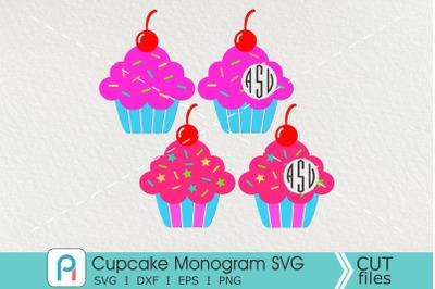 Cupcake Monogram Svg, Cupcake Svg, Cupcake Clip Art