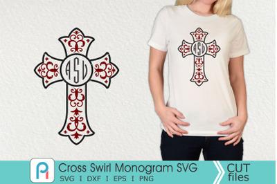Cross Swirl Monogram Svg, Cross Svg, Cross Clip Art, Cross