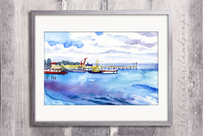 Watercolor landscape with sea pier