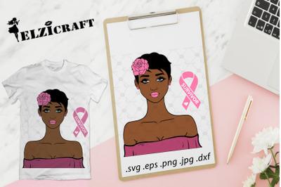 Afro Girl Cancer Survivor SVG Cut File