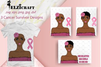 3 Afro Girl Cancer Survivor Designs SVG Cut Files