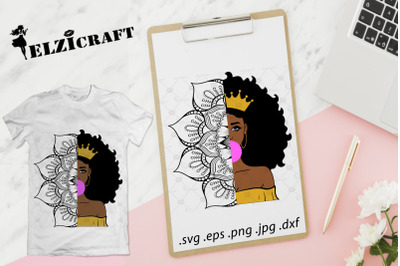 Afro Girl Mandala, Zentangle SVG Cut File