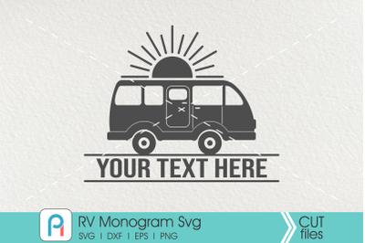 Rv Svg, Rv Monogram Svg, Recreational Vehicle Svg, Rv Dxf