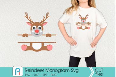 Reindeer Monogram Svg, Reindeer Svg, Deer Monogram Svg