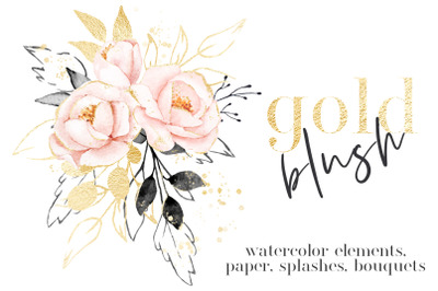 Watercolor flower set Gold and Blush.