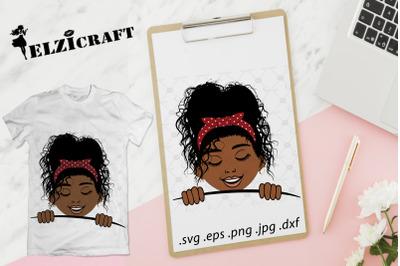 Afro Kid Peeking SVG Cut File