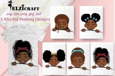 5 Afro Kids Peeking SVG Cut Files