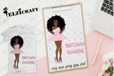 Afro Woman Brown Barbie SVG Cut File