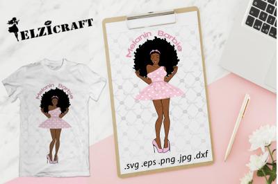 Afro Woman Melanin Barbie SVG Cut File