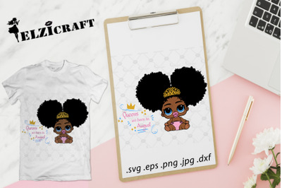 Queens are born in August, Afro Baby SVG Cut File