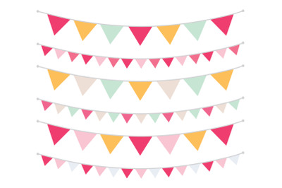 Spring Pink and Gold Triangle Banners