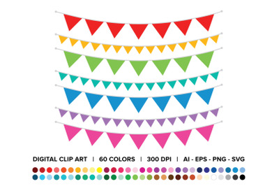 Single Color Triangle Banner Clip Art Set