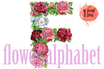 Letter Fof watercolor flowers