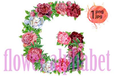 Letter Gof watercolor flowers