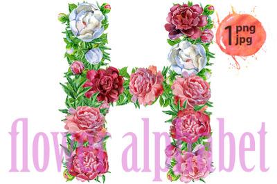 Letter Hof watercolor flowers