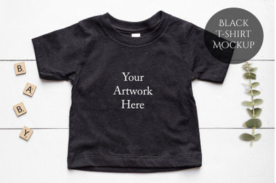 Baby T-shirt in Black Mockup