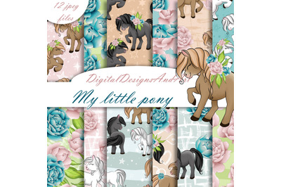 Cute pony digital paper