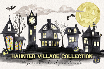 Watercolor Halloween Village Maker Set