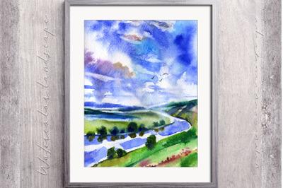 Watercolor river rural landscape