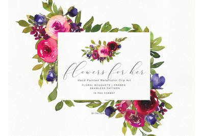 Watercolor Rose Clipart Collection