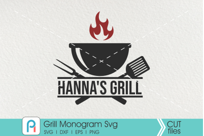 Grill Monogram Svg, Grill Svg, Barbeque Grill Svg, Grill Dxf