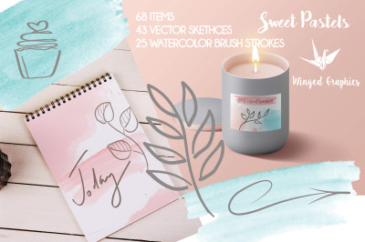 Sweet pastels: set of  watercolor pastel brushstrokes and vector sketc