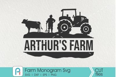 Farm Monogram Svg, Farm Svg, Farmer Svg, Farm Split Monogram
