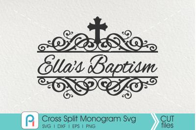Cross Monogram Svg, Cross Split Monogram Svg,Cross Swirl Svg