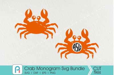 Crab Monogram Svg, Crab Svg, Crab Clip Art, Crab Vector