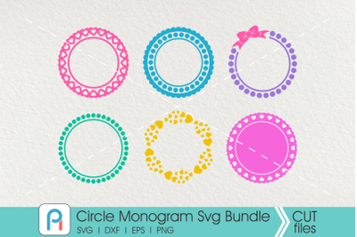 Circle Monogram Frame Svg, Circle Frame Svg, Monogram Svg