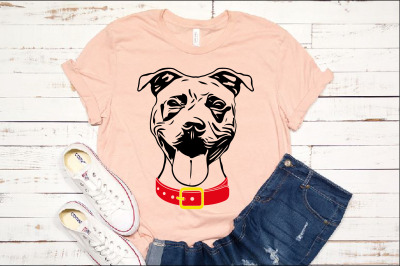 Pit bull Whit collar svg dog face head American ClipArt 1496s