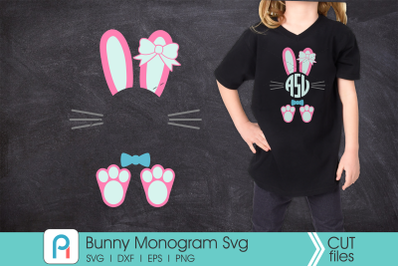 Bunny Monogram Svg, Bunny Svg, Easter Bunny Svg, Bunny Dxf