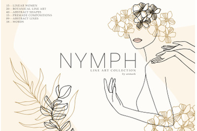 Nymph. Spring Line Art Collection