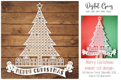 Christmas tree papercut design