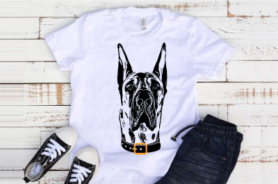 Great Dane whit collar svg dog American Hound merica patriotic 1499