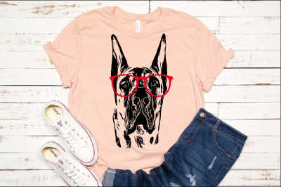 Great Dane whit Glasses svg dog American portrait, Hound, merica 1500