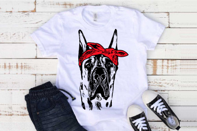 Great Dane whit Bandana svg dog American Hound merica patriotic 1501