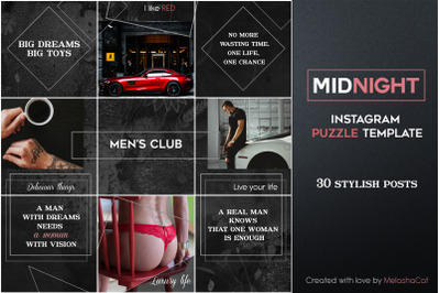 """Midnight"" Instagram PUZZLE Template - 30 stylish Instagram posts"