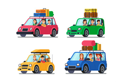 Family traveling cars. Happy people travel in car. Vacation trip with