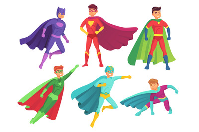 Superhero man characters. Cartoon muscular hero character in colorful