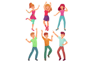Cartoon people dance. Adult persons smiling and dancing at disco party